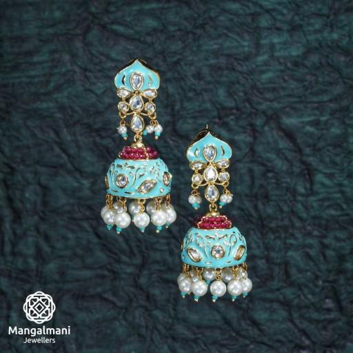 Charming Brass Made CZ And Kundan Stone Work Mint Meena Earrings