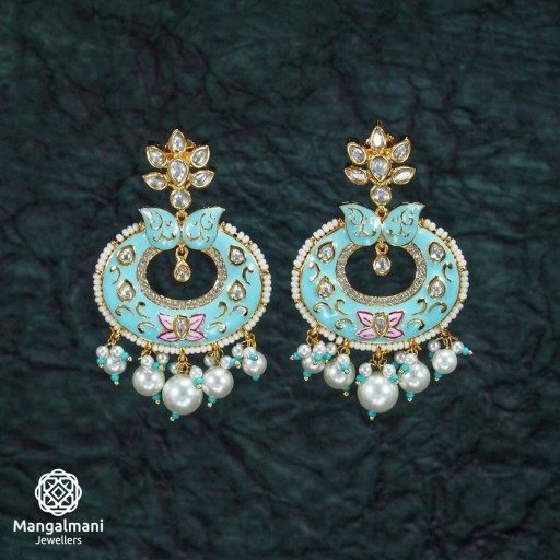 Exclusive Brass Made CZ And Kundan Stone Work Mint Meena Earrings
