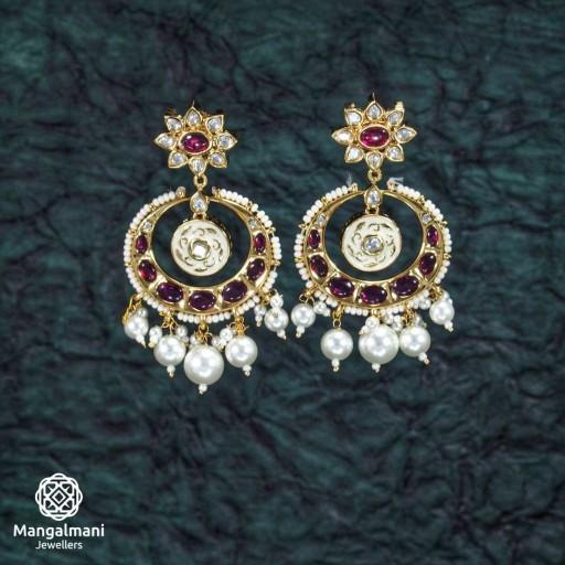 Glamorous Brass Made CZ And Kundan Stone Work Mint Meena Earrings