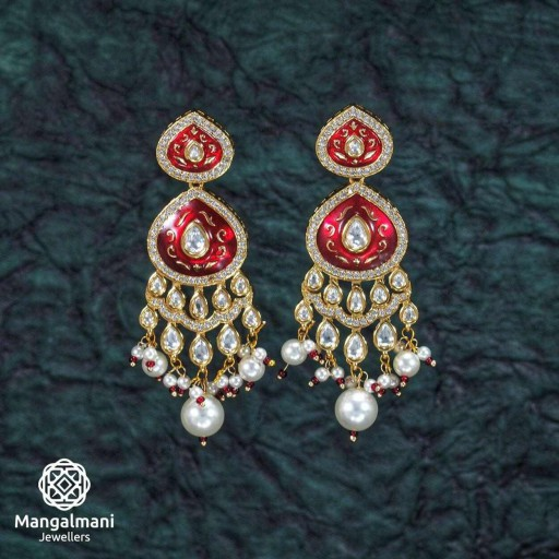 Glorious Brass Made CZ And Kundan Stone Work Mint Meena Earrings