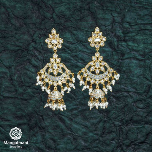 Magnificent Brass Made CZ And Kundan Stone Work Mint Meena Earrings