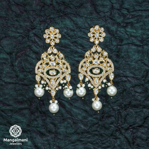 Marvellous Brass Made CZ And Kundan Stone Work Mint Meena Earrings