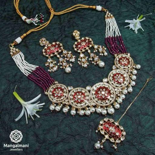 Brass Made Alluring Design Hand Painted Kundan Meena Necklace Set