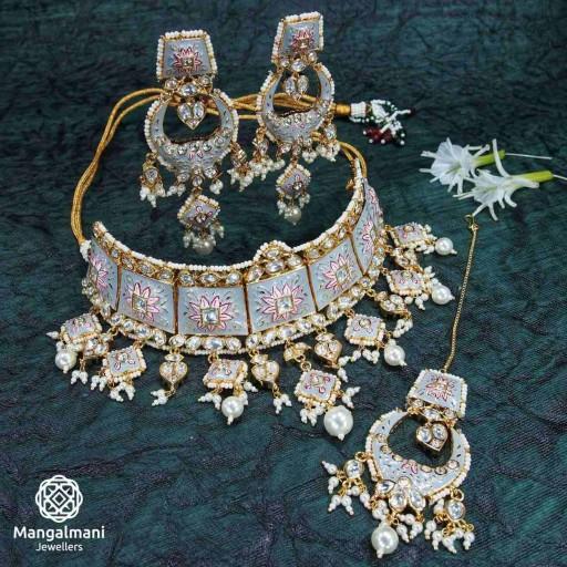 Brass Made Charismatic Design Hand Painted Kundan Meena Necklace Set