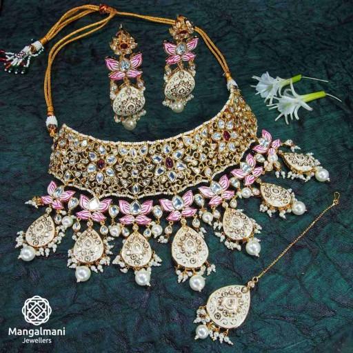 Brass Made Charming Design Hand Painted Kundan Meena Necklace Set