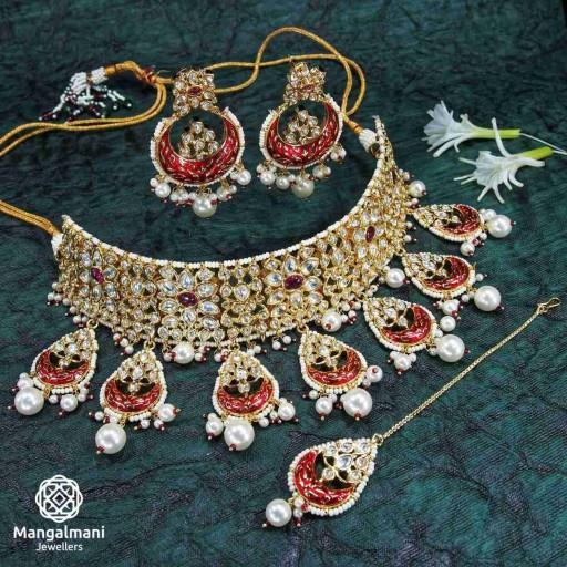 Brass Made Desirable Design Hand Painted Kundan Meena Necklace Set