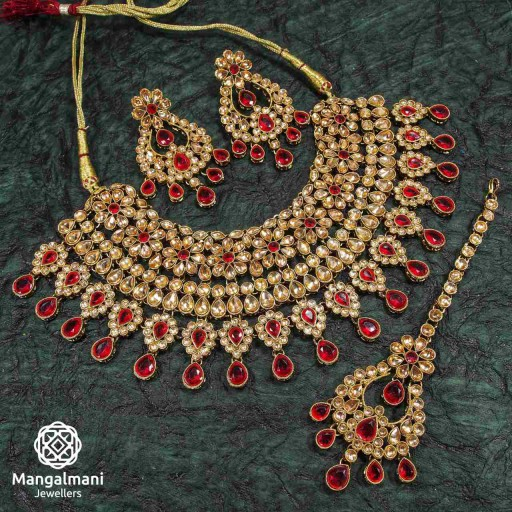 Glorious Maroon Coloured With Traditional Work AD Kundan Necklace Set Decorated With AD Kundan