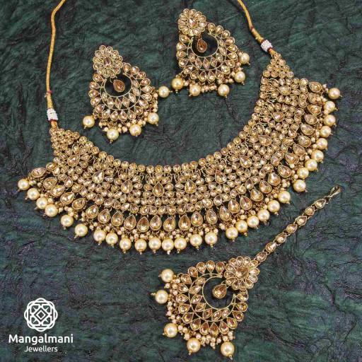 Ravishing LCT Coloured With Designer Stone Work AD Kundan Necklace Set Adorned With AD Kundan