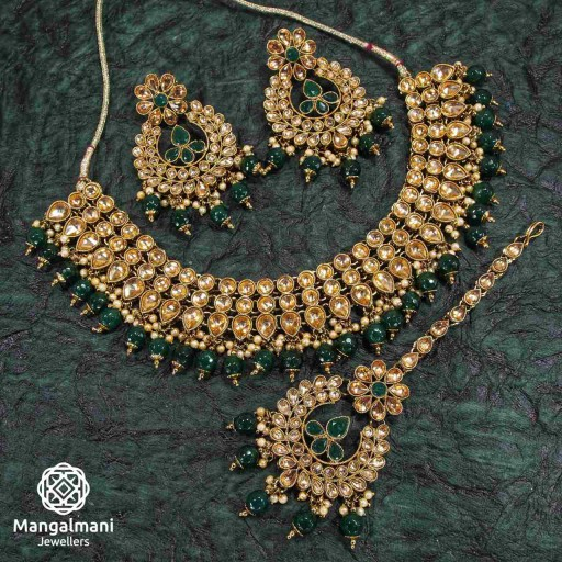Stylish Green Coloured With Ethnic Work AD Kundan Necklace Set Decorated With AD Kundan