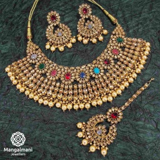 Alluring Multicolor Coloured With Ethnic Work AD Kundan Necklace Set Studded With AD Kundan