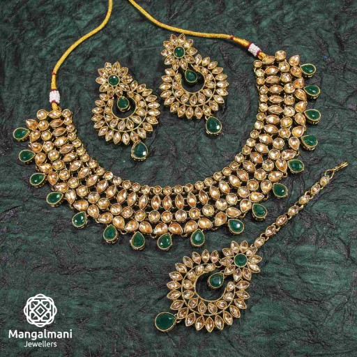Antique Green Coloured With Designer Stone Work AD Kundan Necklace Set Embellished With AD Kundan