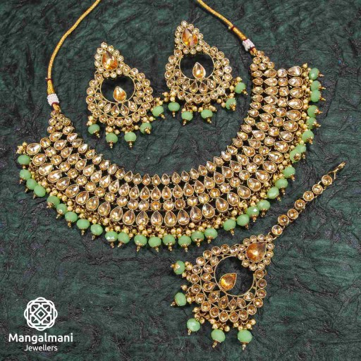 Attractive Green Coloured With Traditional Work AD Kundan Necklace Set Decorated With AD Kundan