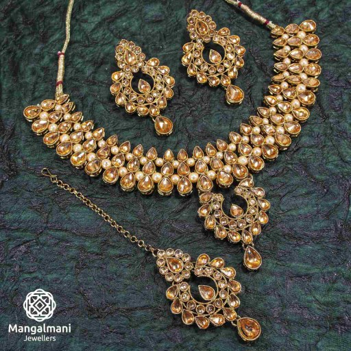 Stunning LCT Coloured With Traditional Work AD Kundan Necklace Set Embellished With AD Kundan